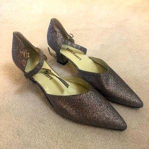 Silver sequined dance heels